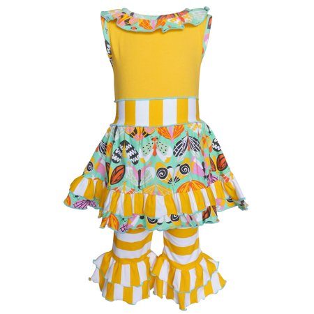 AnnLoren Girls Spring Yellow Butterfly Dress & Stripe Capri Outfit Clothing Set