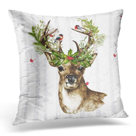 ARTJIA Antlers Birch Tree Forest with Woodland Christmas Deer Rustic Pillowcase Cushion Cover 20x20 inches