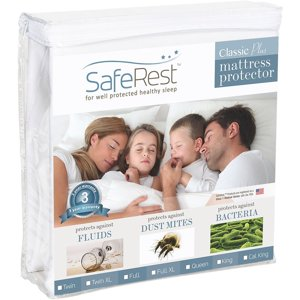 SafeRest Classic Plus Hypoallergenic 100% Waterproof Mattress Protector - Vinyl Free, Multiple Sizes