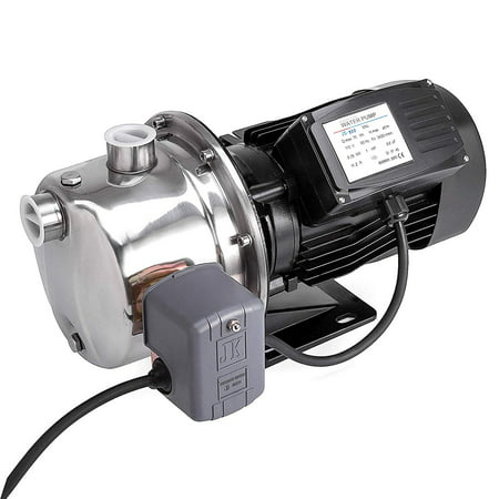 BestEquip 1 HP Shallow Well Jet Pump 110V with Pressure Switch Jet Water Pump Stainless Steel Jet Pump to Supply Fresh Well Water to Residential Homes Farms Cabins