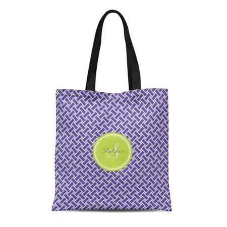 ASHLEIGH Canvas Tote Bag Green Initial Purple Herringbone Geometric Pattern Monogram Men Reusable Handbag Shoulder Grocery Shopping Bags](Initial Tote Bags)