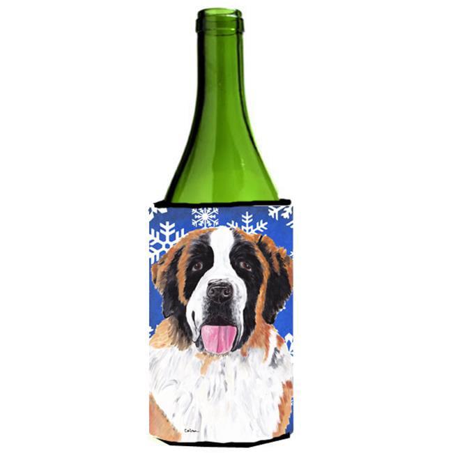Saint Bernard Winter Snowflakes Holiday Wine bottle sleeve Hugger - 24 oz. - image 1 de 1