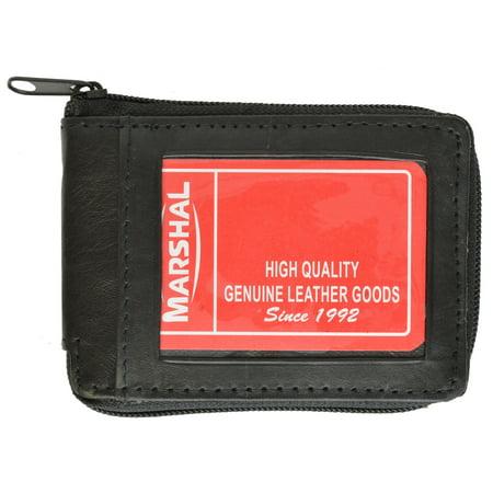 Lambskin Leather Zip Around W/Outside ID Bifold Wallet 1574 (C) Black