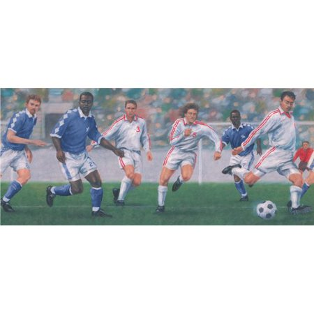 York Wallcoverings Vintage Soccer Football Game Sports Retro Design 15' L x 10'' W Wallpaper Border](Football Border)
