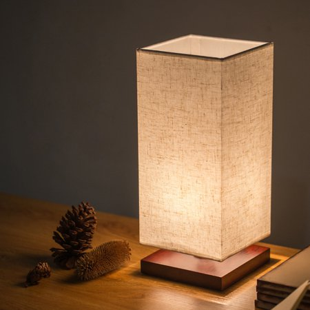 Iuhan Bedside Table Lamp Solid Wood Desk Light With Fabric Shade For Bedroom US Stock