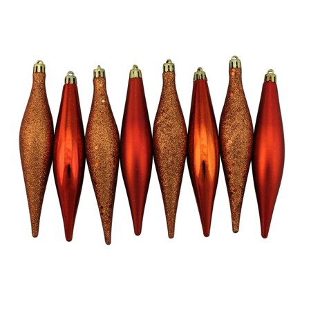 8ct Burnt Orange Shatterproof 4-Finish Christmas Finial Drop Ornaments 6