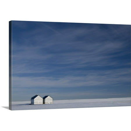 Small Cabasa - Great BIG Canvas Philippe Widling Premium Thick-Wrap Canvas entitled Hussar, Alberta, Canada, Two Small Farm Buildings In Flat Winter