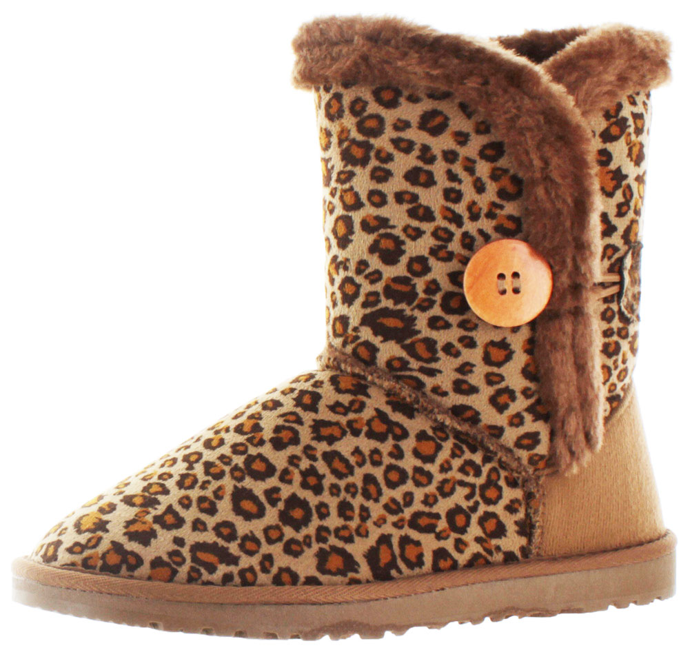 Moda Essentials Short Button Women's Faux Sheepskin Winter Boots by Winter Boots