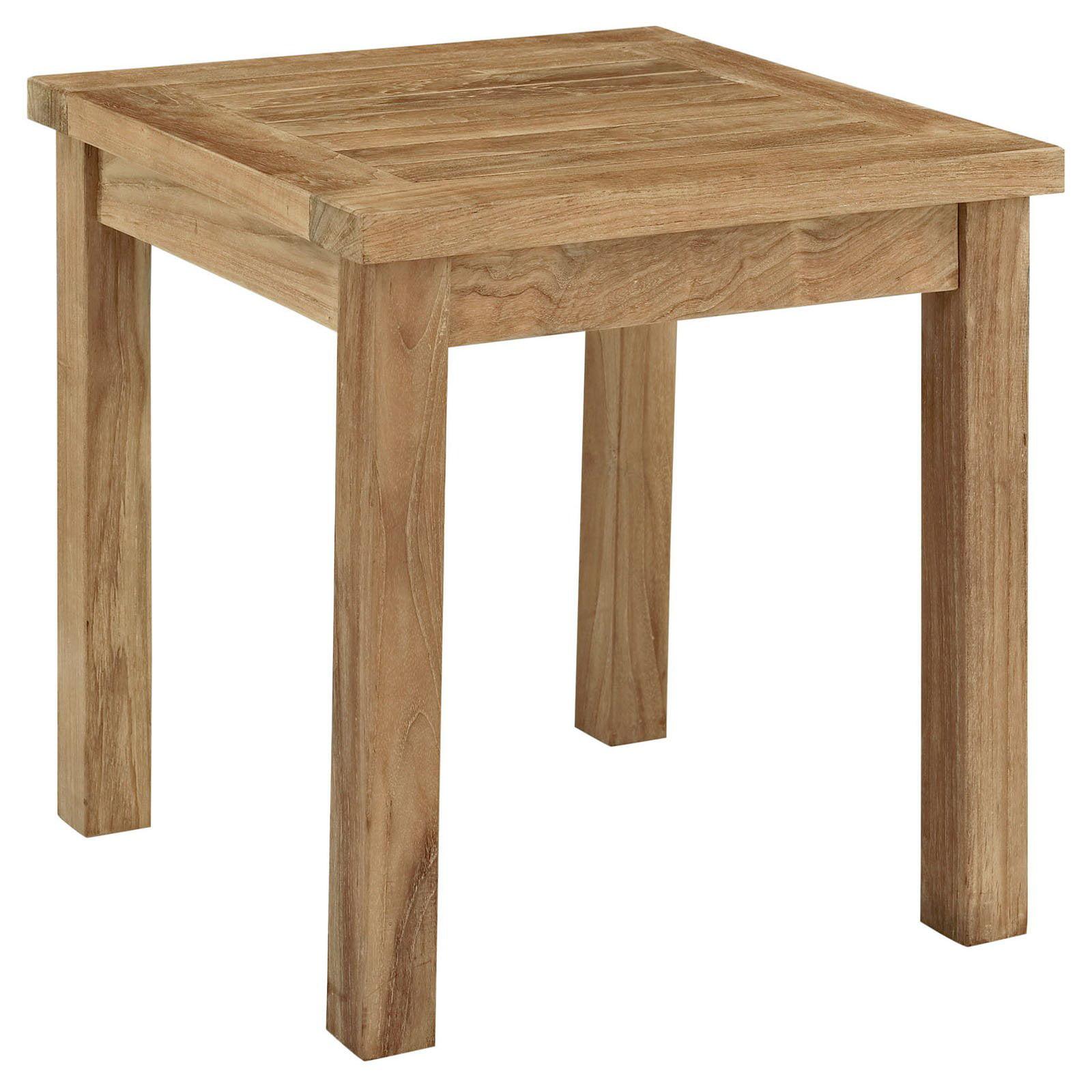Modway Marina Outdoor Patio Teak Side Table, Natural