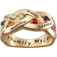 Family Jewelry Personalized Mother's Gold over Silver Family Name and Birthstone Ring