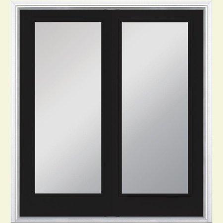 60 in. x 80 in. Jet Black Prehung Left-Hand Inswing Full Lite Steel Patio Door with No Brickmold in Vinyl - Lite Steel Patio Door