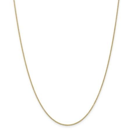 14K Yellow Gold .7mm Cable Chain Necklace, 24