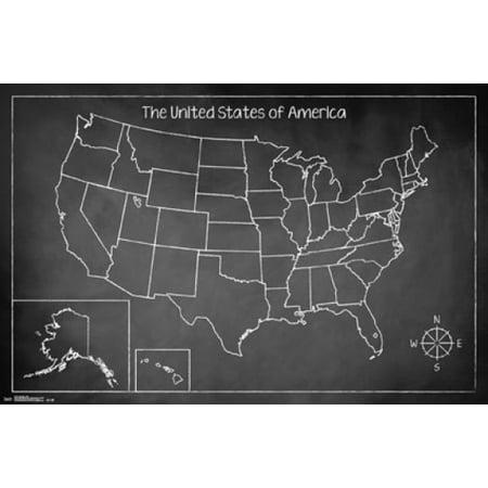 Chalk Map Usa Poster Print Walmartcom - Us map poster walmart