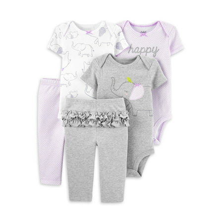 Child of Mine by Carter's Baby Girl Mix N Match Short Sleeve Bodysuits & Pants, 5-Piece Outfit Set