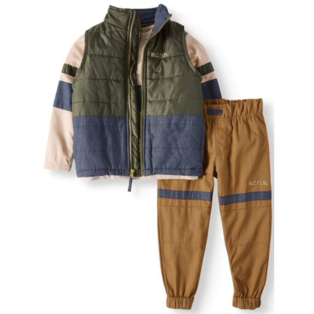 Puffer Vest, Tee and Twill Jogger, 3-Piece Set (Big - 50s Clothes For Boys