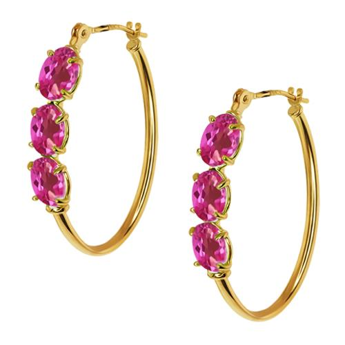 3.30 Ct Oval Pink Mystic Topaz 14K Yellow Gold 4-prong Hoop Earrings 6x4mm