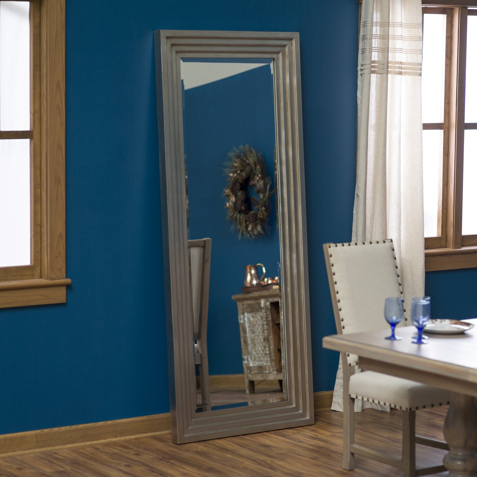 Belham Living Delano Silver Leaf Oversized Full Length Mirror - 34W x 82