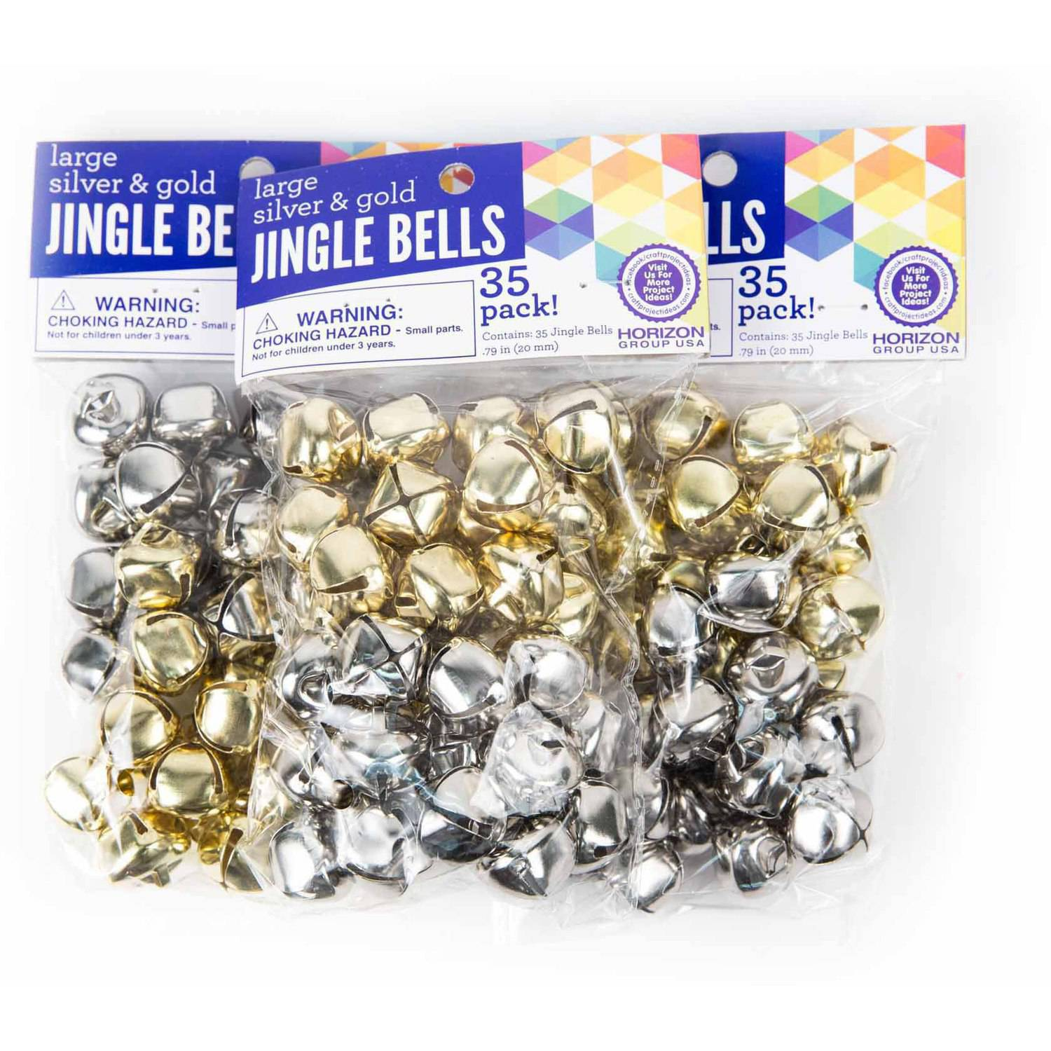 Horizon Group USA Gold & Silver Jingle Bells 20mm, 3pk