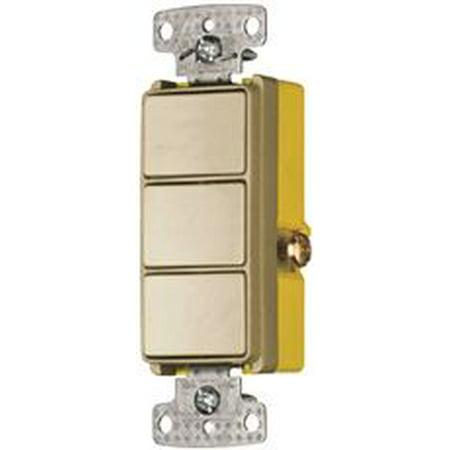 (Rocker Single Pole Combo 3 X 15A Switch Ivory)