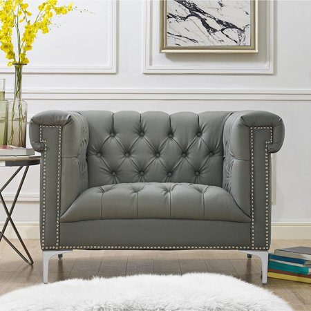 Peter Grey Pu Leather Club Chair Button Tufted Silver