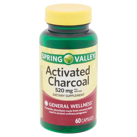 - Spring Valley Activated Charcoal Capsules, 520 mg, 60 count