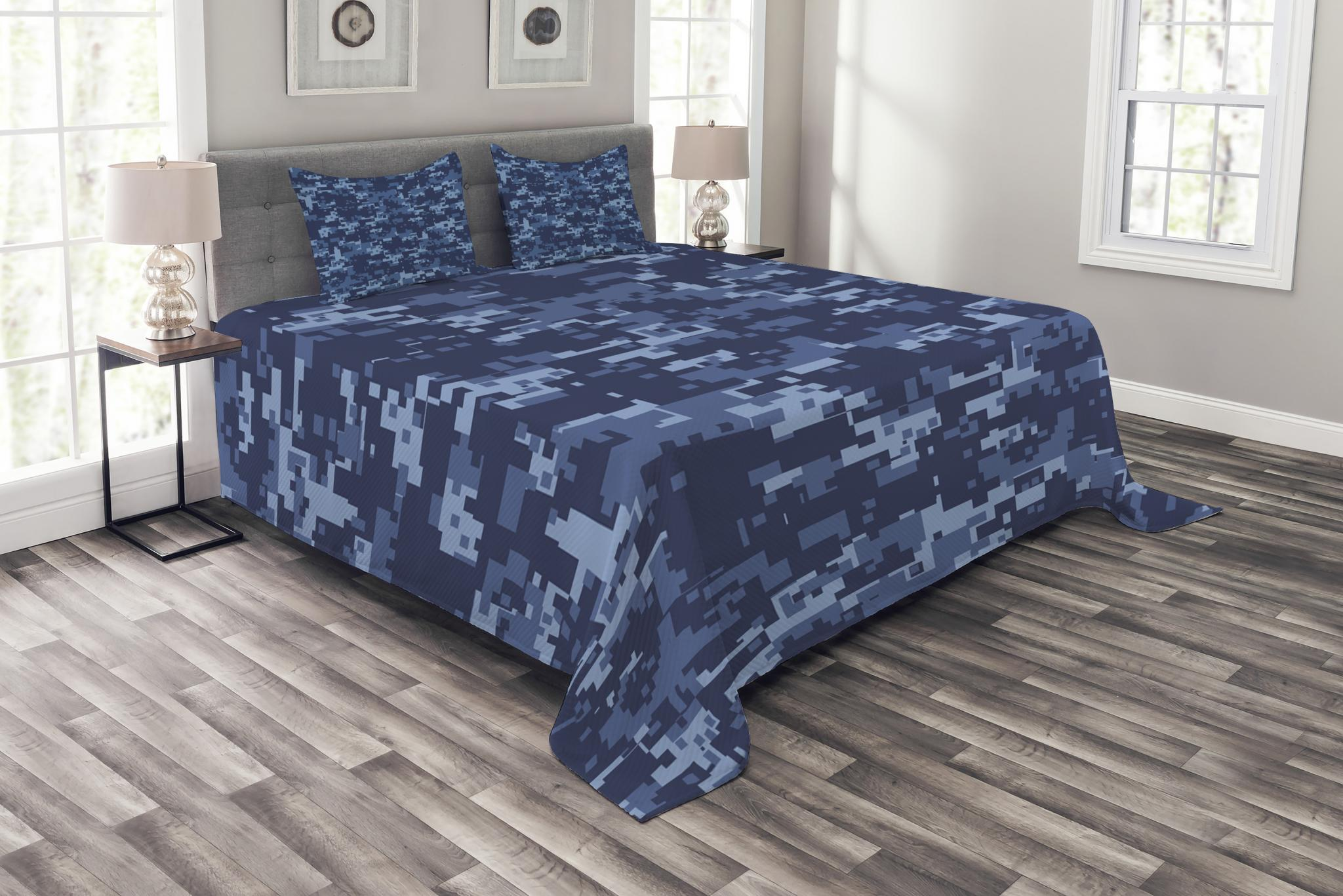 Camo Bedspread Set, Militaristic Digital Effected Armed Forces Pattern Grunge Fashion in Blue, Decorative... by Kozmos