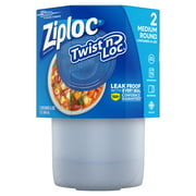 Ziploc Twist 'n Loc Container, Medium, 2 ct