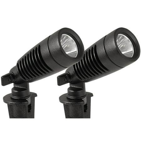 Moonrays 95557 Low Voltage 1-Watt 12-Volt LED Adjustable Spotlight, 2-Pack, Black Finish
