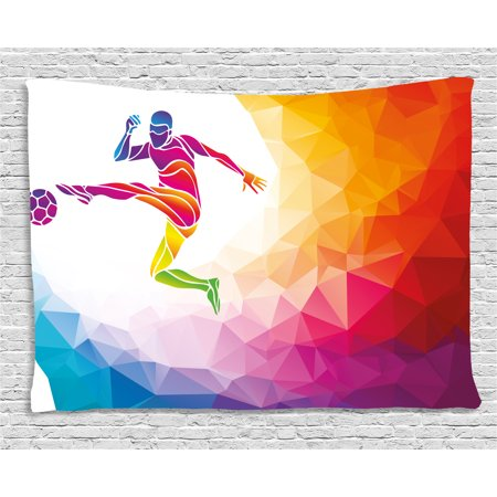 Teen Room Decor Tapestry, Fractal Soccer Player Hitting the Ball Polygon Abstract Artful Illustration, Wall Hanging for Bedroom Living Room Dorm Decor, 80W X 60L Inches, Multicolor, by Ambesonne - Soccer Room Decor