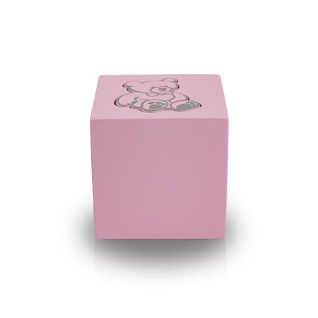 Wood Infant Cremation Urn - Extra Small 20 Pounds - Baby Pink Teddy Bear - Engraving Sold Separately