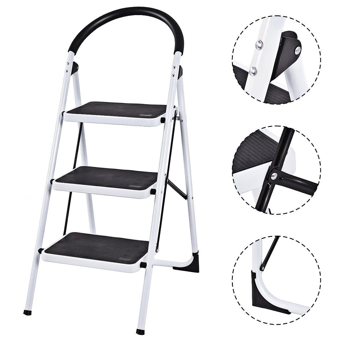 Tremendous 3 Step Ladder Folding Stool Heavy Duty Industrial Lightweight 330Lbs Capacity Machost Co Dining Chair Design Ideas Machostcouk