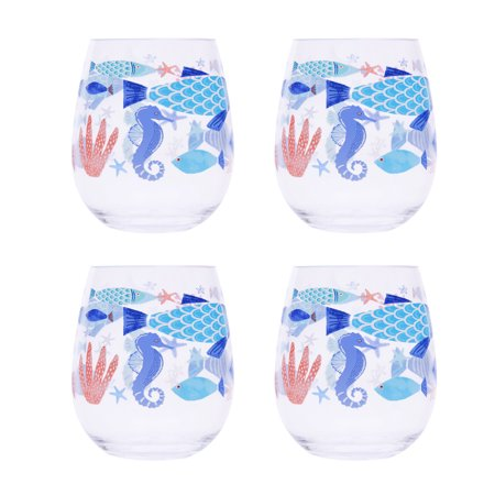 Mainstays 4 Pack Sealife Stemless Wine Glass - Acrylic Wine Glasses