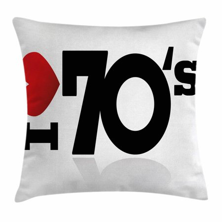 70s Party Decorations Throw Pillow Cushion Cover, Love The Seventies Theme Stylized Letters and Heart Sign Oldies, Decorative Square Accent Pillow Case, 16 X 16 Inches, Red Black White, by Ambesonne for $<!---->