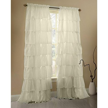 Gee Di Moda Cream Ruffle Curtains Gypsy Lace For Bedroom Living Room