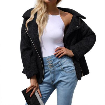 Women's Plus Size Winter Lapel Long Sleeve Faux Shearling Shaggy Faux Fur Zipper Hooded Coat Jacket