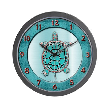 "CafePress - Turtle In Turquoise - Unique Decorative 10"" Wall Clock"