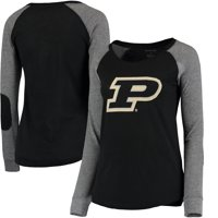 Purdue Boilermakers Women's Preppy Elbow Patch Slub Long Sleeve T-Shirt - Black/Gray