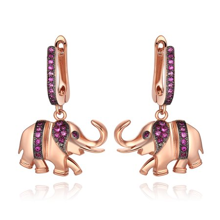 Elephant Earings - Lucky and Cute Trunk Up Elephant Charms Amulets Royal Pink Sparkling Crystals Gold-Tone Fashion Earrings