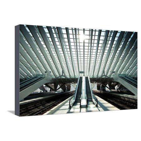 Ultra Modern Train Station in Liege, Belgium Stretched Canvas Print Wall Art By telesniuk (Barcelona Liege)
