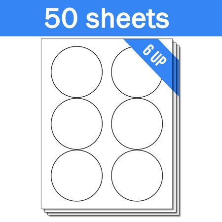 OfficeSmartLabels Round Circle Dot 3-1/3 Diameter StickersLabels for Laser & Inkjet Printers, 3.33 Inch, 6 per sheet, White, 300 Labels , 50 sheets