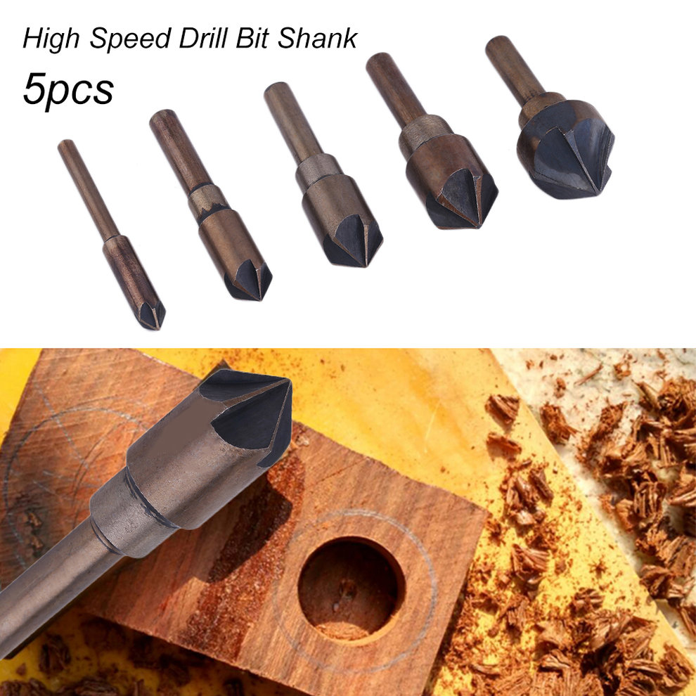 5pcs Industrial Countersink Drill Bit Shank Quick Change Remover Set Power Tools High Speed Steel For Woodworking Drilling