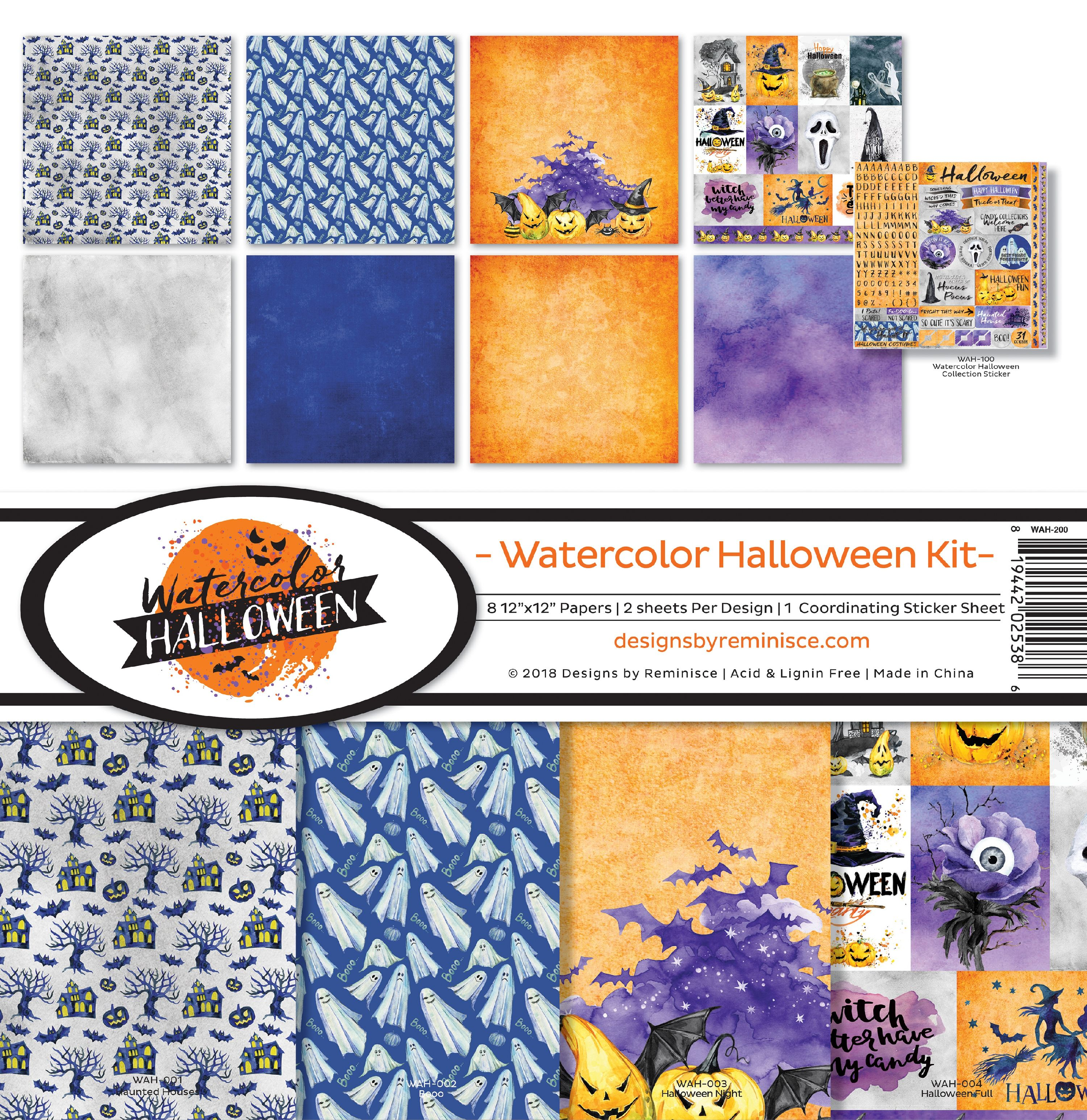 "Reminisce Collection Kit 12""X12""-Watercolor Halloween"