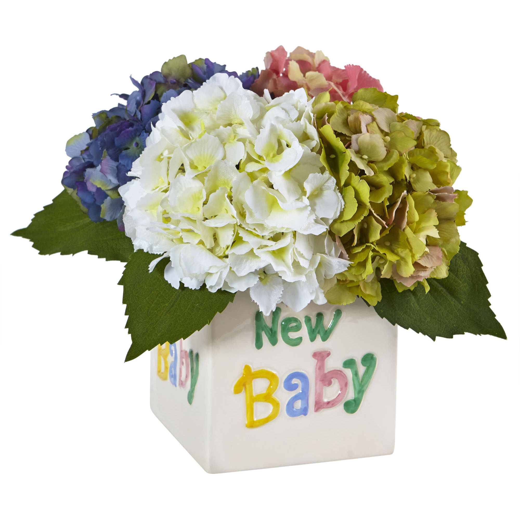 Nearly Natural Hydrangea in New Baby Ceramic