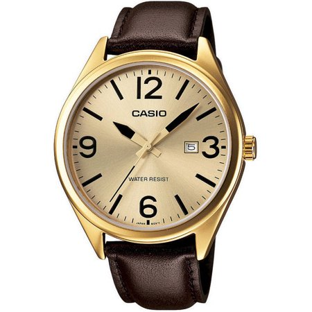 Icon Analogue Watch - Casio Men's Casual Analog Watch, Brown Leather Strap