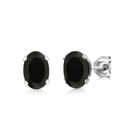 1.36 Ct Oval Shape Black Onyx Silver Plated Brass Stud Earrings