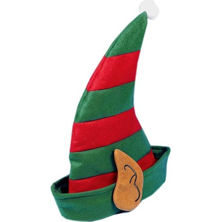 Christmas Striped Elf Hat With Ears Festive Holiday Costume Accessory - Paper Elf Hat