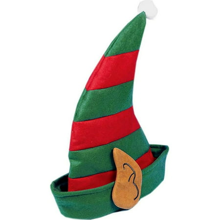 Christmas Striped Elf Hat With Ears Festive Holiday Costume - Christmas Hats For Adults