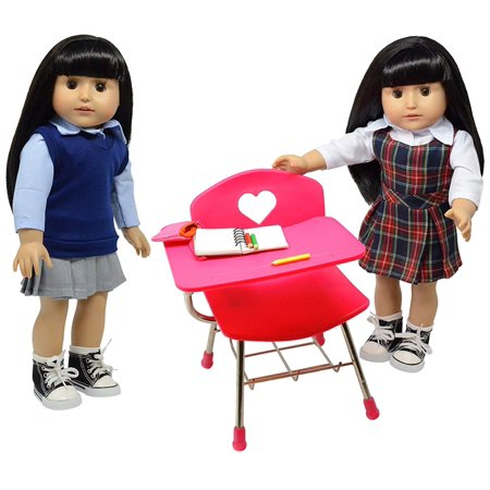 Doll Back to School Set - Doll School Desk ,School Supply Set for Dolls and School Uniform Clothing Fits 18 Inch Girl Dolls
