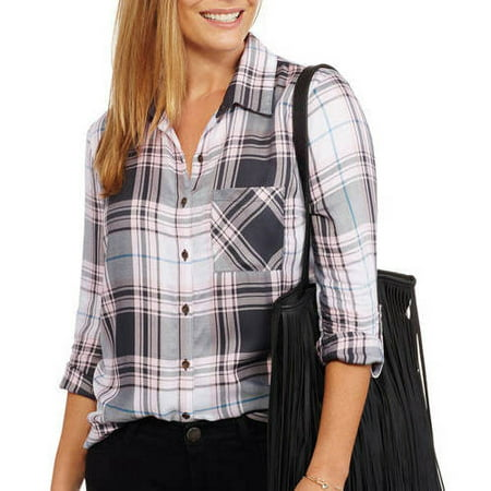 Womens Rayon Plaid Button-up Shirt with Roll-Tab Sleeve