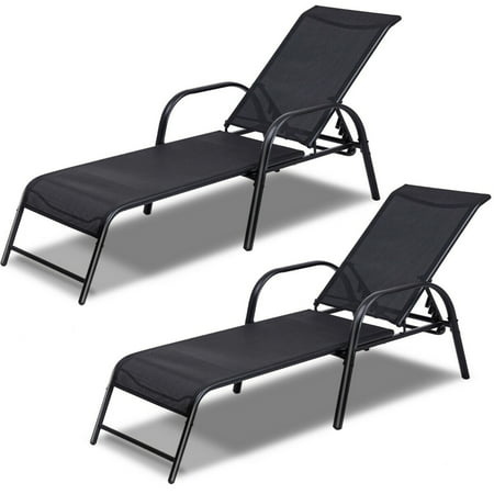 Set of 2 Patio Lounge Chairs Sling Chaise Lounges Recliner Adjustable Back - image 1 of 10